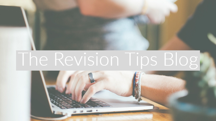 "Female typing on Mac keyboard with out of focus books around her and text overlay ""The Revision Tips Blog"""