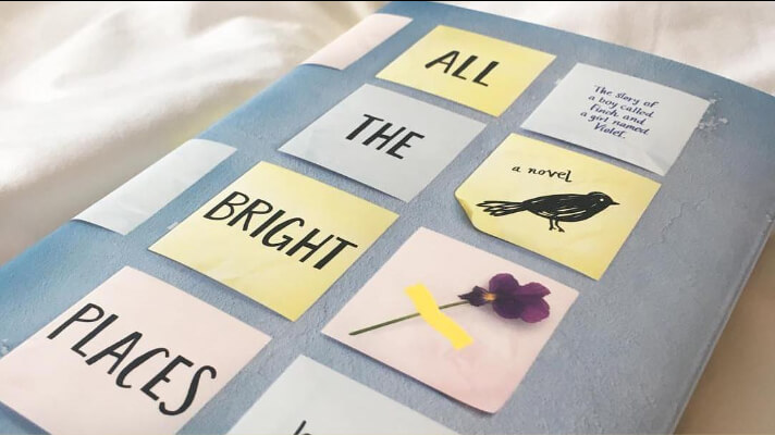 close up of all the bright places novel