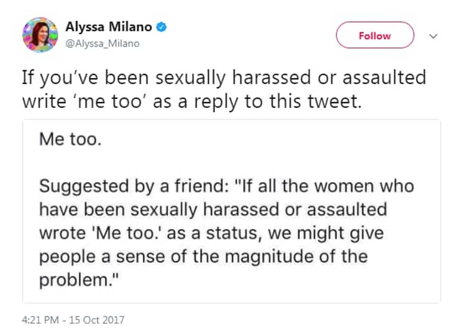 Alyssa Milano Sexual Harrassment and Assault Famous Tweet Image