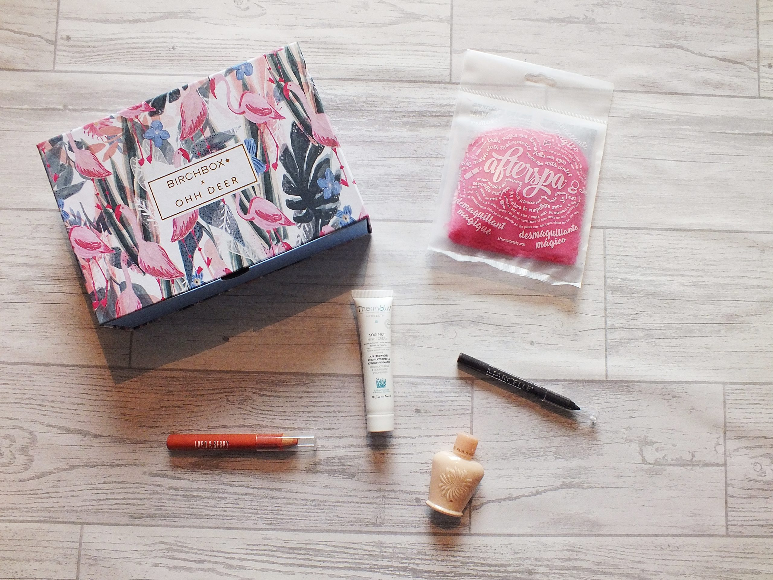 Flatlay image from above showing the contents of the Birchbox and Ohh Deer Collaboration box from January 2018