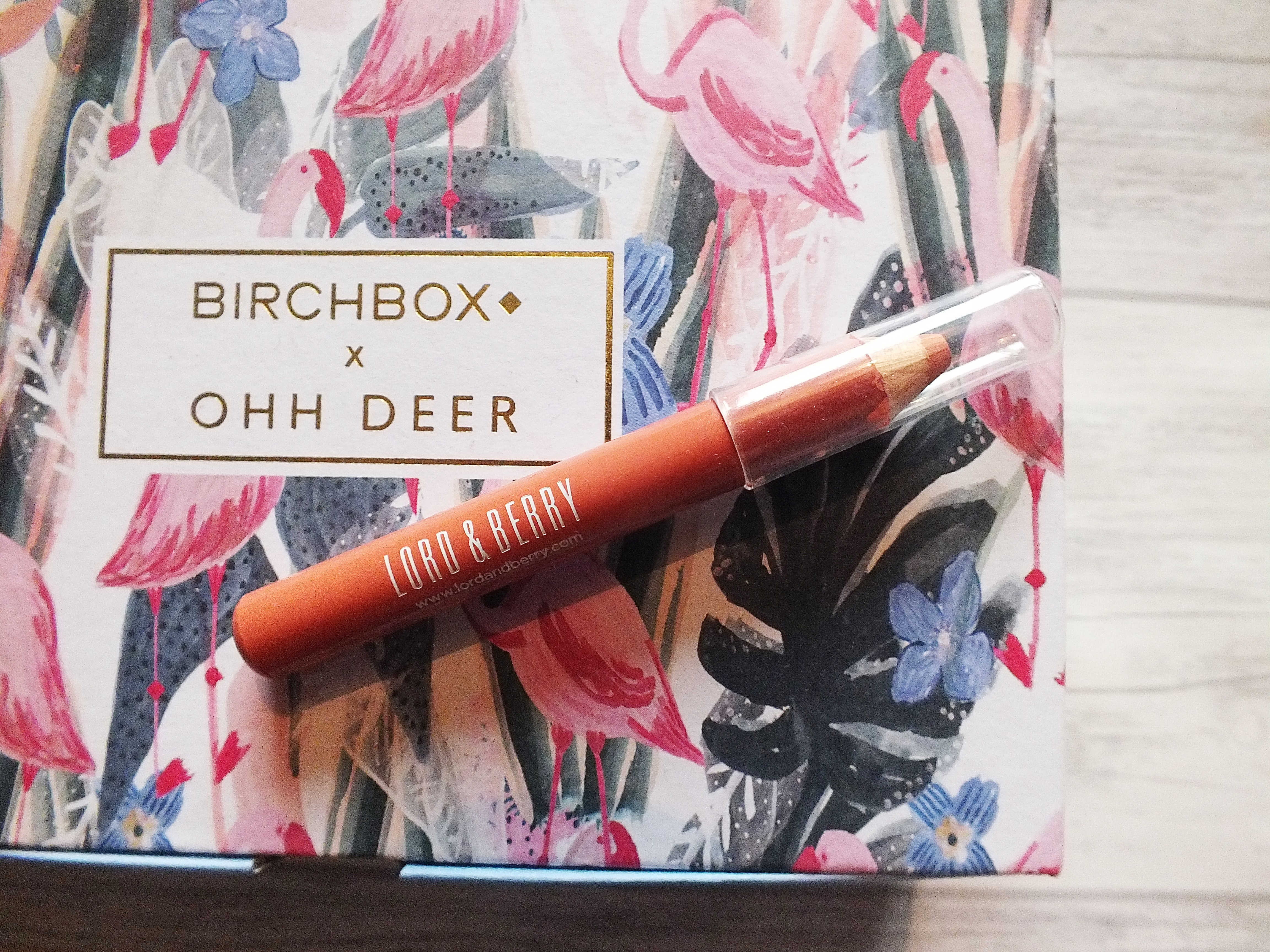 Lord and Berry Blusher Crayon in Peach colour on top of Birchbox