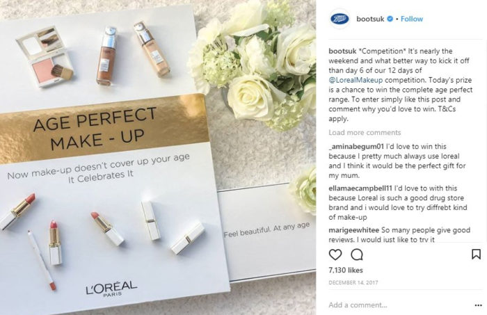 Boots UK Instagram Post of L'Oreal Paris Age Perfect Range