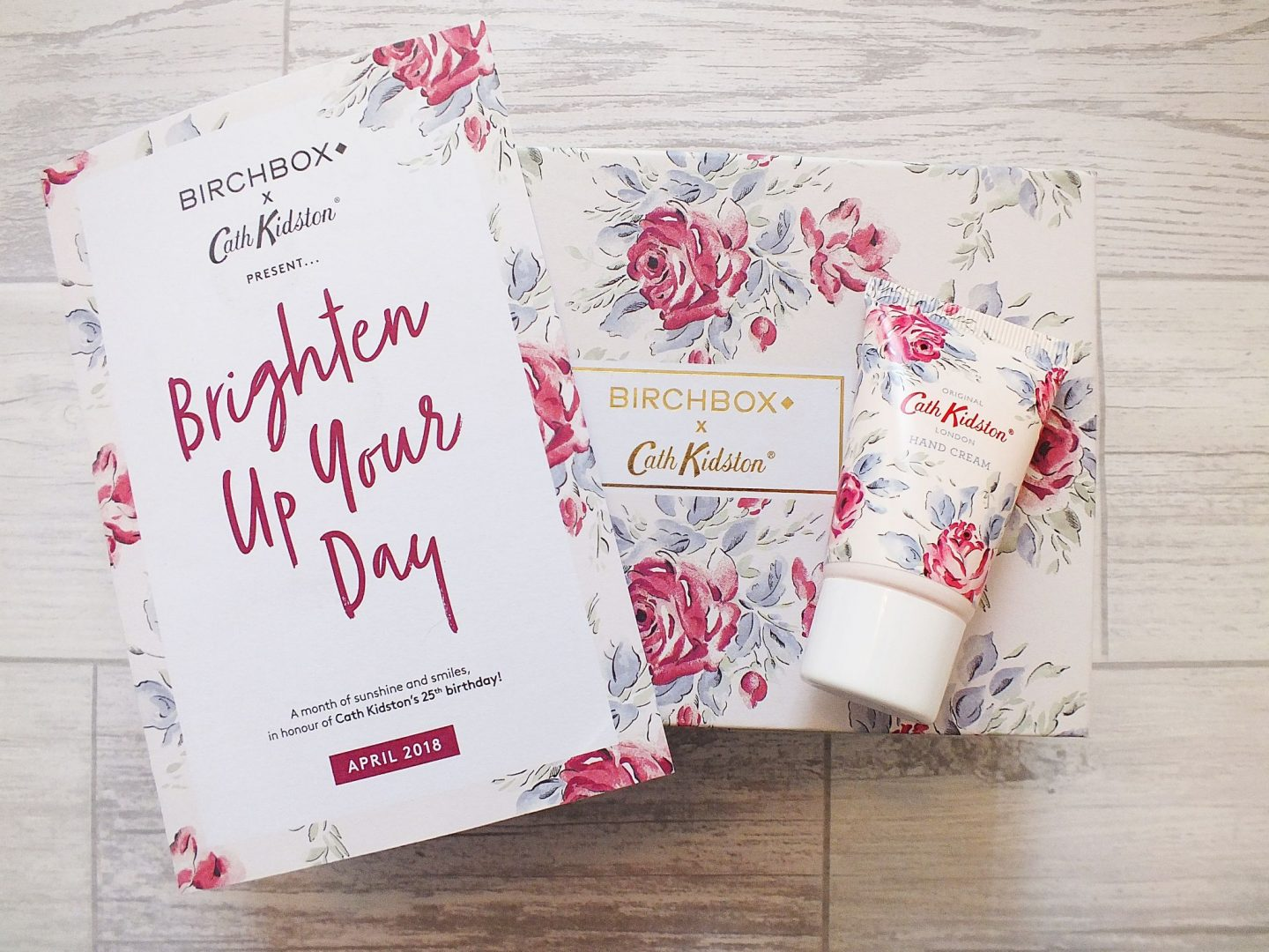 April Birchbox Cath Kidson Hand Cream on top of Birchbox flatlay