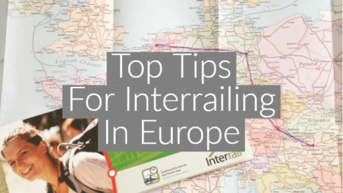 "flatlay style image of map of Europe with text overlay ""Top Tips For Interrailing In Europe"""