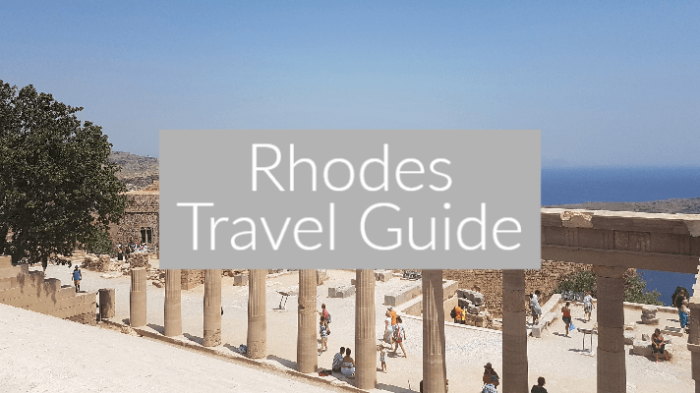 "Photo of the ruins of the Rhodes Acropolis with a text overlay ""rhodes travel guide!"