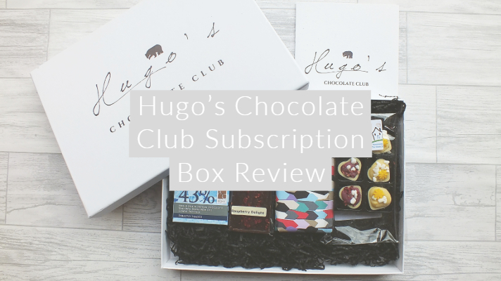 Hugo's Chocolate Club Subscription Box Review flatlay with text overlay
