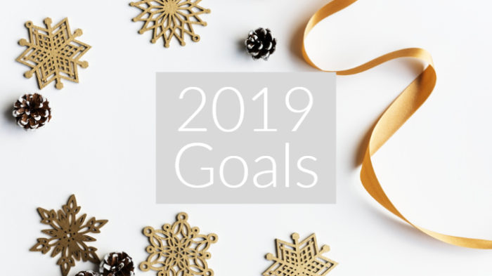 "Flatlay image of wooden christmas decorations and ribbon on a grey background with text overlay ""2019 goals"""