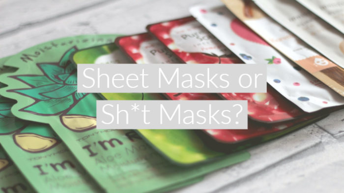 "flatlay style post showing row of different sheet masks packets with text overlay ""Sheet Masks or Sh*t Masks"""