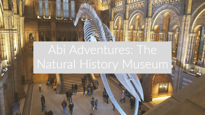 "Image of the blue whale skeleton inside the natural history museum with text overlay ""Abi Adventures The Natural History Museum"""