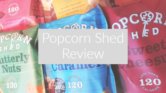 """Popcorn Shed coloured packets in mosiac effect with text overlay """"popcorn shed review"""""""
