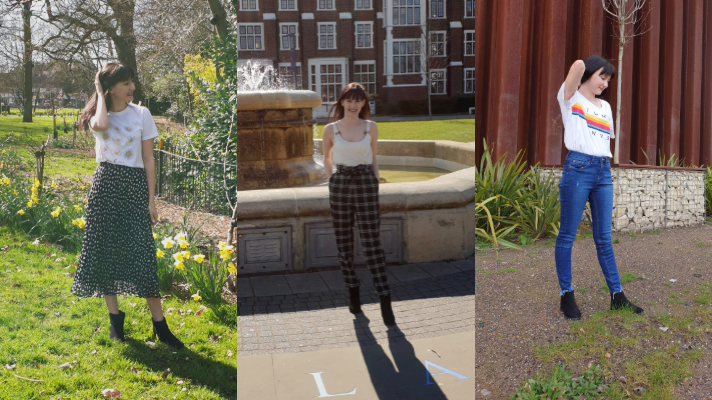 One image of a girl in three different outfits. First imaege on the left is in a white top with flowers on and a spotty black and white skirt, image in the middle is in a cream top and black and white checkered trousers and image on the right is in a white top with a rainbow band and blue ripped jeans