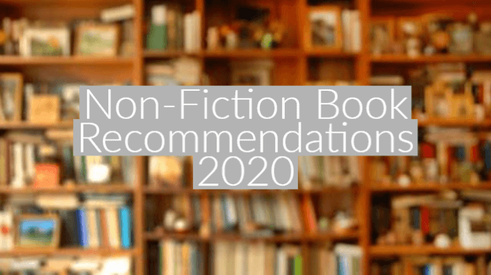 "out of focus image of bookshelf with text overlay in white ""Non-Fiction Book Recommendations 2020"""