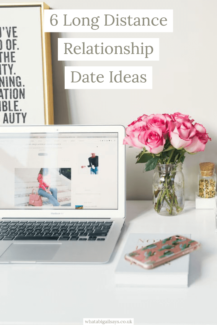 pinterest graphic pink and white desk flatlay with text overlay 6 Long Distance Relationship Date Ideas