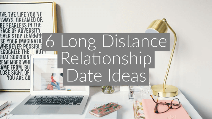 desk flatlay with laptop and gold lamp with text overlay '6 Long Distance Relationship Date Ideas'