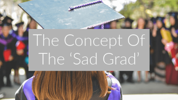 girl in graduation cap with back to camera with text overlay The Concept Of The 'Sad Grad'