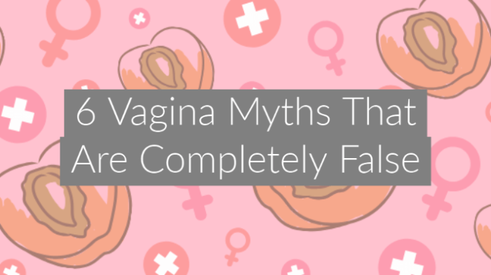 illustrationon pink background of fruit that looks like a vagina with text overlay 6 Vagina Myths That Are Completely False